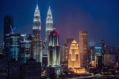 Kuala- Lumpurskyline nachts, Malaysia, Kuala Lumpur sind ernstlich stockbild