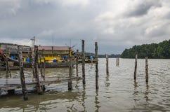 Kuala Sepetang Fishing Village Taiping, Malaysia - Arkivbilder