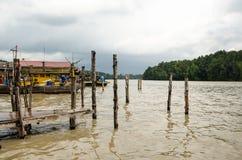 Kuala Sepetang wioska rybacka, Taiping, Malezja - obraz stock