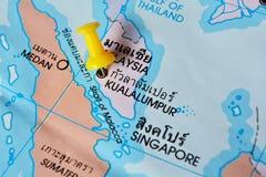 Kualalumpur map. Macro shot of kualalumpur Malaysia map with push pin royalty free stock photos