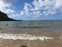 Kualoa海滩在夏威夷 免版税库存照片