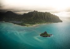 Kualoa. And kaneohe by helicopter Royalty Free Stock Photo