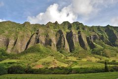 Kualoa Ranch-Berge Oahu Hawaii Stockfoto