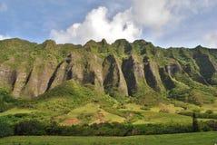 Kualoa Ranch Mountains Oahu Hawaii Stock Photo