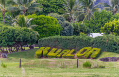 Kualoa-Ranch-Zeichen lizenzfreie stockbilder