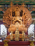 Kuan yin wood sculpture. Guan yin wood sculpture is a faithful god has been good Royalty Free Stock Images