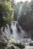 Kuang Si Falls On Sunny Day Photographie stock