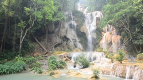 Kuang Si Falls or Tat Kuang Si Waterfalls stock video footage