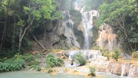 Kuang Si Falls or Tat Kuang Si Waterfalls stock video