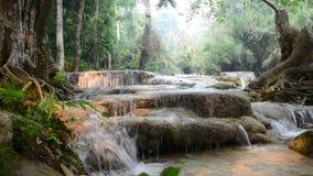Kuang Si Falls or Tat Kuang Si Waterfalls stock video footage