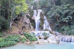 Kuang Si Kouangxi vattenfall, Luangprabang, Loas Arkivfoton