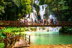 Kuang Si siklawa w Laos, Luang Prabang Obraz Stock