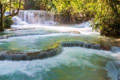 Kuang Si vattenfall på Luangprabang Arkivbilder