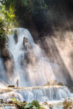 Kuang si water fall in the morning. Luang Prabang, Laos Stock Photo