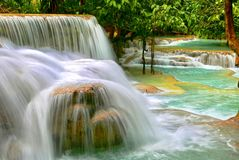 Kuang Si water falls, a paradise on earth. royalty free stock photography