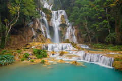 Kuang Si waterfall with blue minerals water in Luang Prabang Stock Photography