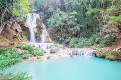 Kuang Si Waterfall Luang Prabang, Laos Arkivfoton