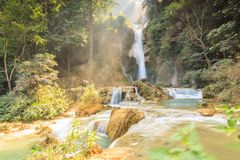 Kuang Si waterfalls at Laos. Stock Photography