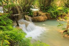 Kuang Si waterfalls at Laos. Royalty Free Stock Photos