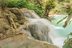 Kuang Si waterfalls at Laos. Royalty Free Stock Photo
