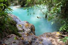 Kuang Si Waterfalls, Laos. Mint-colored Kuang Si Waterfalls, Luang Phrabang, Laos stock photography