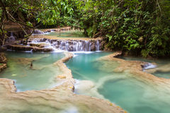 Kuang Si Waterfalls, Laos. Mint-colored Kuang Si Waterfalls, Luang Phrabang, Laos royalty free stock images