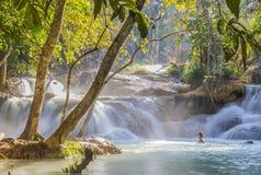 Kuang Si Waterfalls, Luang Phrabang, Laos. Royalty Free Stock Images