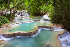 Kuang Si Waterfalls, Luang Phrabang, Laos. These waterfalls are a favourite side trip for tourists in Luang Prabang royalty free stock photo