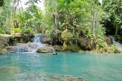 Kuang Si waterfalls at Luangprabang Laos Stock Photography