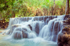 Kuangsi  waterfall in deep forest in Laos Stock Image