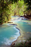 Kuangsi  waterfall in deep forest in Laos Royalty Free Stock Photo