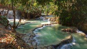 Kuangxi waterfall, Laos. This is detail of Kuangxi, a series of falls reached by a three-hour walk from Luangprabang. It is also accessible by car but a walk is Stock Photo
