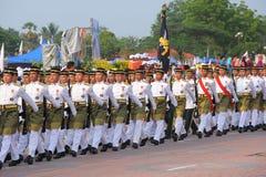 KUANTAN 31 DE AGOSTO: Los malasios participan en el desfile del día nacional, ce Imagen de archivo libre de regalías