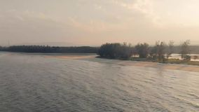 Kuantan Pahang Malaysia 25 August 2018, aerial Cherating beach with beautiful sunset. Aerial cinematic view with beautiful wave open water sea at Cherating beach