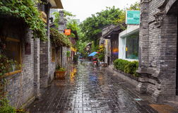 Kuanzhai Alleys scenery. The streets are famous tourist spots in Chengdu, Sichuan, China royalty free stock photo