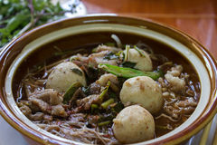 Kuay teow nam tok moo (waterfall noodles) ; Wide rice noodlesou Royalty Free Stock Image