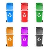 Kubły na śmieci są kolorowi również zwrócić corel ilustracji wektora ilustracji