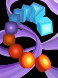 Kub cirkel, cylinder Royaltyfria Bilder
