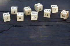 Kub för matematisk formel 1x1 i träbakgrund Fotografering för Bildbyråer
