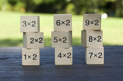 Kub för matematisk formel 1x2 i träbakgrund Arkivbilder