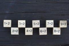 Kub för matematisk formel 1x2 i träbakgrund Arkivfoton
