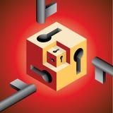 Kub för nyckel- hål Arkivfoton