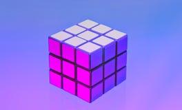 Kub för Rubik ` s på a-Lila-blått bakgrund Moskva 2018 royaltyfria bilder