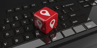 kub för tolkning 3d med lägesymbol på ett tangentbord royaltyfri illustrationer