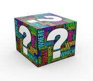kub för wordtags för wordcloud för fläck för fråga 3d Arkivbilder