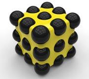 Kub för abstrakt objekt med sfärer Royaltyfri Foto