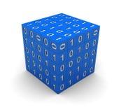 Kub med binär kod Royaltyfri Bild