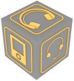 Kub med symboler av grejer royaltyfri illustrationer