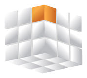 kub som 3d isoleras på en vit Royaltyfri Bild