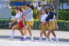 Kubańskie uczennicy, Karaiby Fotografia Stock